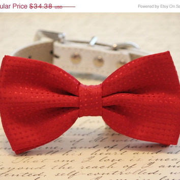 Handmade Red wedding Dog Bow tie, Cute chic dog bow tie- Christmas, Valentine's Day, Wedding gift, Ruby Red