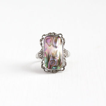 Vintage Sterling Silver Blister Pearl Ring - Art Deco 1920s 1930s Size 8 1/2 Colorful Statement Stone Swirled Filigree Jewelry
