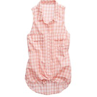Aerie Women's Tie Front Button Down Tank