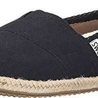 Toms Women's Classic Striped Canvas Black Stripe Ankle-High Canvas Flat Shoe - 8.5M
