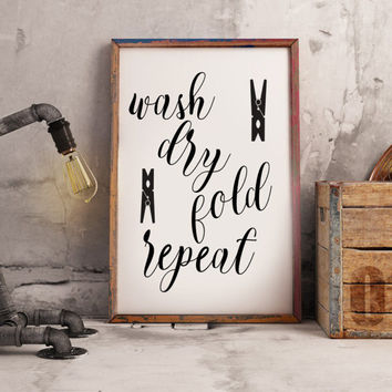 Laundry room decor - Laundry room art - Laundry room art print - Laundry room sign - Wash Dry Fold sign - Laundry room decoration