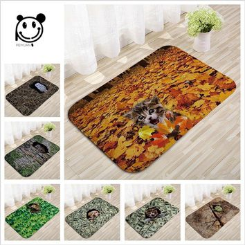 Autumn Fall welcome door mat doormat Carppe New Modern Style Lovely Painting Cat Printed Carpet Flannel Anti-slip Floor Mat Outdoor Rugs Animal  High Quality AT_76_7