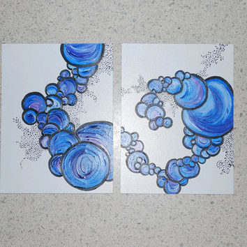 Shades of Blue, Diptych, in Circles and Pointillism, OOAK, Fine Art, Acrylic Paint, Wood Panels- Etsy Treasury