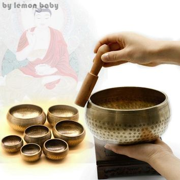 1 Set Copper Buddha Sound Bowl Alms Bowl Yoga Chinese Tibetan Meditation