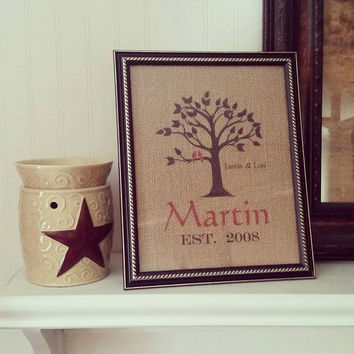 Personalized Burlap Print Monogrammed Wall Art Family Tree with name and red love birds sign picture silhouette decor wedding housewarming