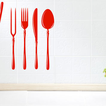 Wall Vinyl Decal Kitchen Tools Fork Spoon Ladle Kitchen  Interior Decor Unique Gift z4779
