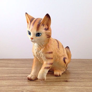 Sweet Orange Ceramic Kitty Cat, Signed Japan. Japanese Wares Vintage Ceramic Cats. Orange Brown White Tabby.
