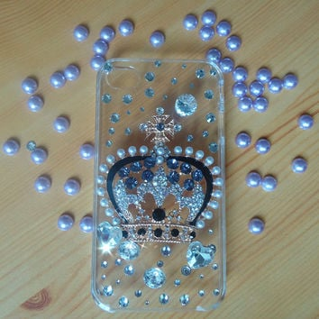 iphone 4/4s case.the princess crown case.clear .jewelry. handmade bling crystal kawaii iphone 4 4s case. gyaru rhinestone diamante jewelry.
