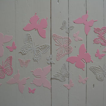 3D Butterflies made of textured card stock in Dusty Grey and Pink shades--Let them fly around in your nursery or dress up your party