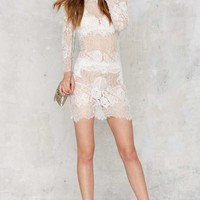 Laced on a True Story Sheer Dress - White