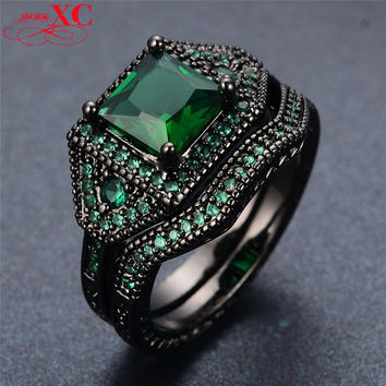 Vintage Emerald Jewelry Women Fashion Wedding Ring Set Unique anel Green Sapphire CZ Black Gold Filled Engagement Rings RB0124