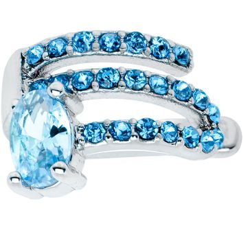 Blue Gem All Of The Bling None Of The Commitment Non Pierced Ear Cuff