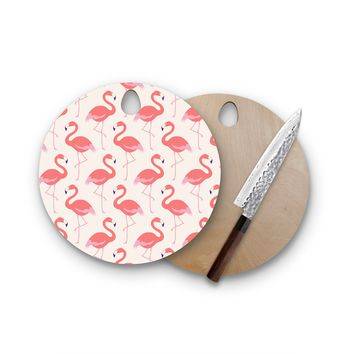 Pink Flamingo Round Cutting Board Trendy Unique Home Decor Cheese Board