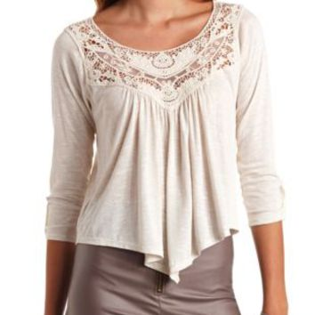 Crochet-Yoke Knit Swing Top by Charlotte Russe