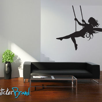 Vinyl Wall Decal Sticker Fairy on Swing #AC134