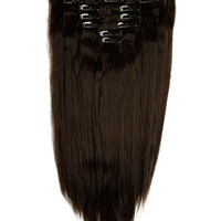 S-noilite® 23 Inches (58 CM) Long Straight Full Head Clip in Synthetic Hair Extensions 8 Piece 18 Clips 170g (4A, Dark Brown)