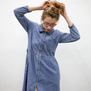 vtg 90s button down denim dress, 1990s casual short dress, kawaii goth mini dress, tumblr fashion, american apparel, soft grunge, vaporwave