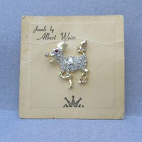 Signed WEISS Vintage Rhinestone Donkey Tac Pin, Mint On Card!