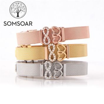 Somsoar Jewelry Infinity Love Mesh Bracelet & Bangle Set with DIY  Charms 2pcs extra free Rubber Stops for Mother's Day