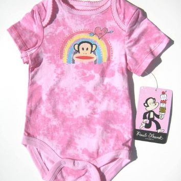 Small Paul Infant New Born Baby Girl Bodysuit 0-3, 3-6 Months Pink New