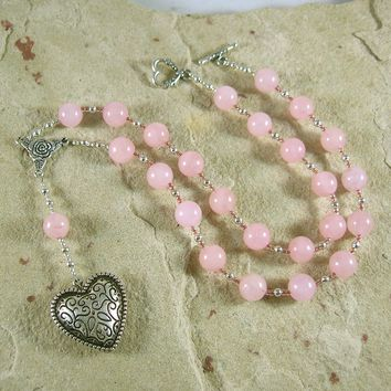 Aphrodite Prayer Bead Necklace in Rose Quartz: Greek Goddess of Love, Passion, Beauty
