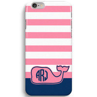 Pink Stripe Custom Monogram Inspired Vineyard Vines  iPhone 6 Case, iPhone 5S Case