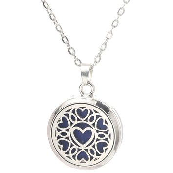 Heart Pattern Aroma Box Pendant Necklace 316L Magnetic Aromatherapy Essential Oil Diffuser Perfume Locket Pendant Jewelry 27mm