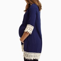 Navy-Blue-Crochet-Trim-Linen-Maternity-Tunic