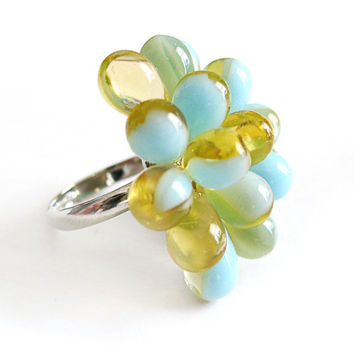 Cocktail Ring Amber & Pastel Blue Berry - Limited Edition - Bubbly statement ring, spring jewelry, baby blue and yellow, bubbly cluster ring