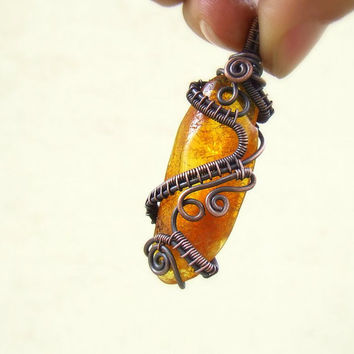 Amber copper pendant, antiqued copper brown amulet, amber handmade wrapped jewelry