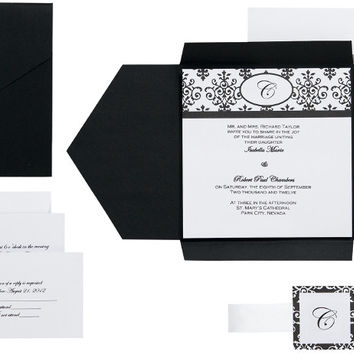 Scroll Monogram Pocket Invitation Kit-Black/White