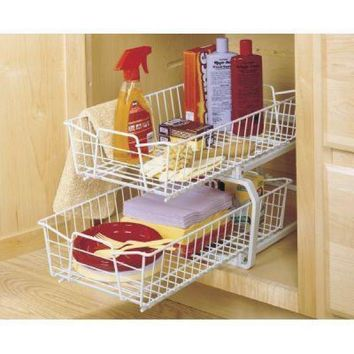 ClosetMaid 12.11 in. W 2-Tier Ventilated Wire Sliding Cabinet Organizer in White-3608 - The Home Depot