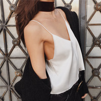 Backless Spaghetti Strap Tassels Tops [9753212751]