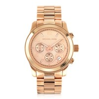 Michael Kors Designer Women's Watches Runway Rose Gold Plated Stainless Steel Bracelet Women's Watch