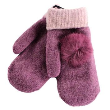 1Pair Women's Warm Winter Hair ball decorated Gloves solid color Mittens
