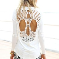 Cream Long Sleeve Tunic with Cutout Crochet Skull Back