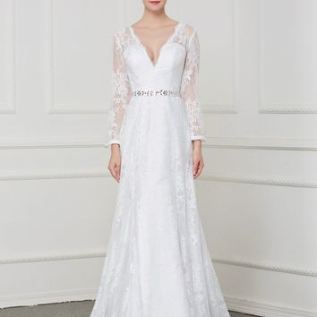 C.V Illusion Back Sexy Deep V neck Vintage Lace Mermaid Wedding Dresses 2018 Long Sleeve Beaded Belt Plus Size Bridal Gown W0206