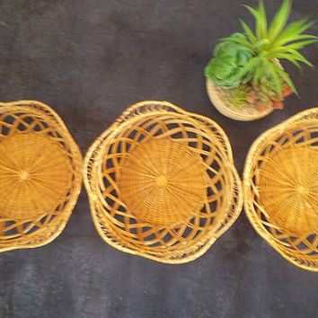 3 vintage Lacey Woven Rattan baskets ~ Wall Grouping ~ Jungalow ~ Basket serving Set