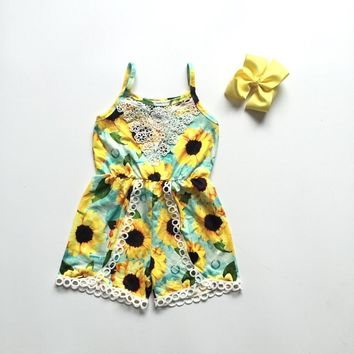 baby girls clothes summer romper with sunflower baby kids toddler romper boutique clothing
