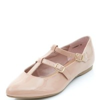 Wide Fit Stone Patent T-Bar Double Strap Point Flats