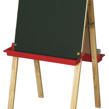 ECR4Kids Preschool Kids Double Sided Adjustable Easel with Chalkboard And White Dry Erase Board