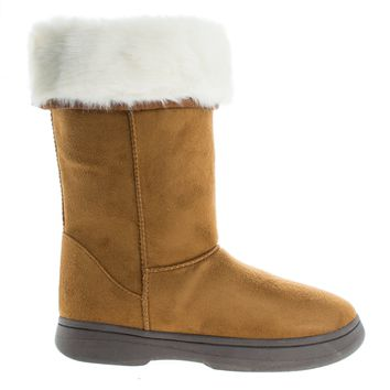 Tahoe15 Chestnut By Bamboo, Winter Warm Faux Sheep Skin & Synthetic Fur Cuff, Slipper Boots, Mukluk