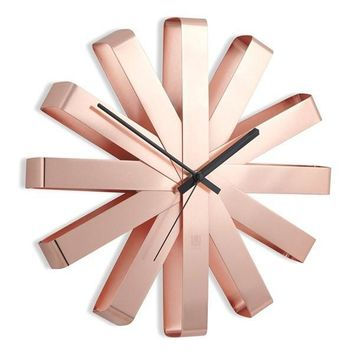 Copper Ribbon Clock by Umbra