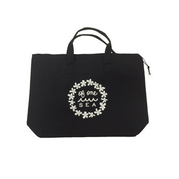 Black Canvas Tote With Lei Logo