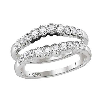 14kt White Gold Women's Round Diamond Ring Guard Wrap Solitaire Enhancer Wedding Band 1/2 Cttw - FREE Shipping (US/CAN)