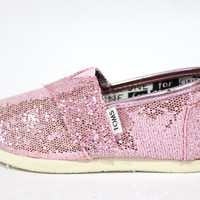 Toms Tiny's Classic Pink Glitters Kid's Shoes