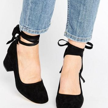 Kurt Geiger Treacle Tie Ankle Kitten heel Shoes at asos.com e2e230215