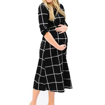 Maternity Dress Women Pregnant Sexy Casual Nursing Chic Tie Long Dress