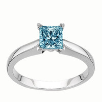 Solitaire princess blue diamond 1.51 carat anniversary ring white gold 14K