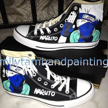 Naruto Anime Kakashi Inspired Hand Painted Converse Shoes, Custom Converse All Star Sn